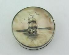 UNUSUAL ANTIQUE SOLID STERLING SILVER & MOP COMPACT - TALL SHIP