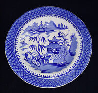 J & W Ridgway Flow Blue Willow Bowl Dinner Plate Dish Oriental Antique China