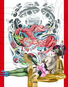 Asian girl Geisha dragon Pin-up fine art Print Burlesque painted SARA HORWATH