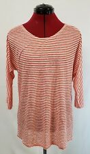NWT J Crew 100% Linen Orange White Striped 3/4 Sleeve Tee T-Shirt Size Large
