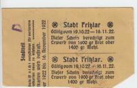 Allemagne / Fritzlar Brot-Mehlkarten Pour 1000g 1922 Quelque Chose D'Occasion