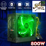 800W PC Power Supply Quiet ATX Gaming PSU + 120mm LED Fan For Desktop Computer