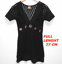 SAVE THE QUEEN LADY WOMAN BLOUSE SHIRT SHORT SLEEVE MARKED SIZE S BLACK