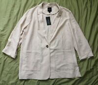 New Look Women's Cream Beige Tamsin Text Blazer Size 18 New With Tags