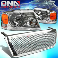 FOR 04-08 FORD F-150/LOBO CHROME FRONT GRILL+HEADLIGHTS LAMPS AMBER CORNER