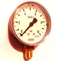 """Manometer 1/4"""" Zoll Anschluss unten Wika radial 10 bar Wasser Heizung und Luft"""