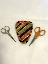 Handmade Colorful pepper stripes Quilted needlework / embroidery scissor holder