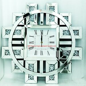 Extra Large Sparkly Silver Diamond Crush Crystal Wall Clock Round Square 60x60cm