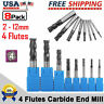 8pcs 4 Flutes Carbide End Mill 2-12mm Tungsten Steel CNC Cutter Milling Tool Set