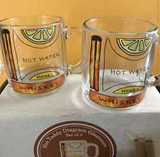 Hot Toddy Diagram Glassware by Uncommon Goods Set of 2 Brand New Glasses