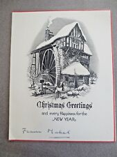 Vintage CHRISTMAS Card 1930s Snowy Watermill Scene Man Outside Black & White