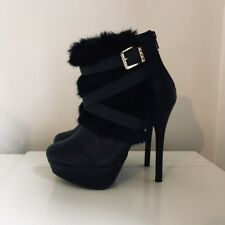 New Look Black Faux Leather & Faux Fur Buckle High Heel Ankle Boots. Size UK 5.