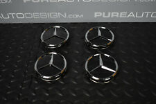 Mercedes Black Alloy Wheel Center Caps x 4 With Chrome Star 75mm