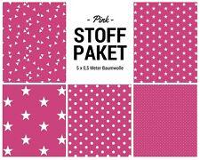 Stoffpaket pink 5x (0,5 x 1,50m) Patchworkpaket Baumwolle Nähpaket DIY Stoffe