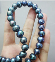 "18""  baroque 12-13 MM AAA SOUTH SEA Black blue PEARL NECKLACE 14K GOLD CLASP"