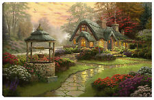 Quadro moderno arredo soggiorno Thomas Kinkade Make a Wish Cottage 90x60