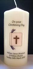 personalised boy girl christening baptism candle gift keepsake bible design