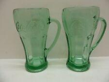 2 Libbey Coca Cola Green Mugs Heavy Glass Embossed 16 oz Coke Glass