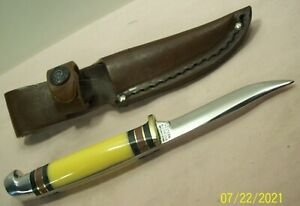 1950's~WESTERN~PAT'D.~UNUSED~YELLOW HANDLE BIRD & TROUT KNIFE w/LEATHER SHEATH~