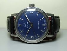 VINTAGE ENICAR WINDING SWISS MENS WRIST WATCH OLD USED ANTIQUE G873 BLUE DIAL