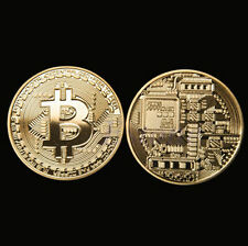 1x Art Collection  BTC Coin Gift Collectible Physical Gold Plated  Bitcoin Coin