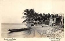 Rppc Salgar Colombia To Usa Cocoanut Trees Stamps Real Photo Postcard 1933