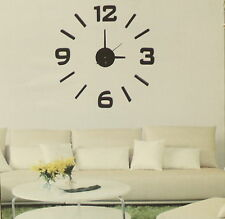 Hommy DIY Modern Room Interior Decoration Wall Clock - Numbers & Lines - Black