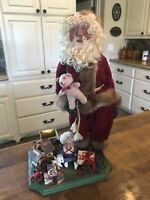 "Old Vintage Wood Santa Claus large Primitive Hand Made 19"" Tall"