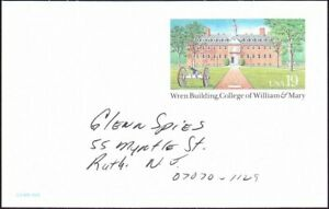 US - 1993 - 19 Cents William & Mary College & Cannon Postal Card UX167 Used F-VF