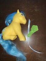 Vintage My Little Pony 1983 G1 Bubbles With Ribbon & Comb By Hasbro