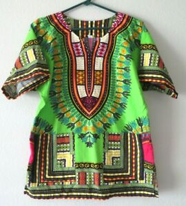 Green African Adult Size S Unisex Dashiki Shirt