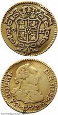 SPAIN COLONIAL GOLD COIN 1/2 ESCUDO CHARLES III MADRID MINT 1773 AD
