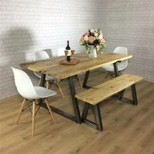Vintage Industrial Rustic Reclaimed Plank Top Dining Table Solid Kitchen Style