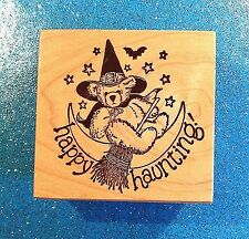 PSX F683 ~ Happy Haunting Witch Teddy Bear on Broom & Bat 1988 Wood Rubber Stamp