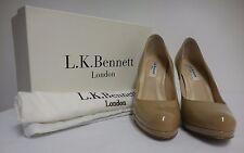 Precioso L.K. Bennett Sledge Cerrado Tribunal Charol Zapato Marrón Topo 38 UK 5 nos 7