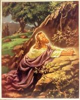 """SALLMAN Vintage Christ in Gethsemane 1941 Lithograph Warner Press 8 3/8"""" X10 3/8"""