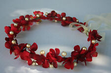 Wedding red headband, Flower Headband with pearls, Bridal Hair Headband