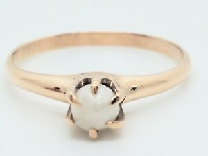 Art Deco 10k Coppery Yellow Gold Prong Set 4mm Cultured Pearl Solitiare Ring Old