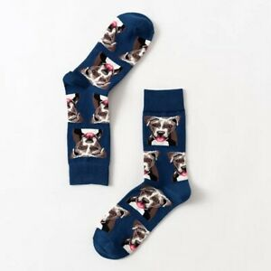 STAFFIE DOG NOVELTY SOCKS ONE SIZE (ADULTS) STAFFORDSHIRE STAFFY GREAT GIFT