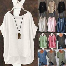 Women Summer Short Sleeve T-Shirt Tops Cotton Linen Loose Tunic Blouse Tee Tops