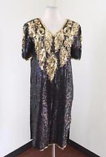 Vtg Blue Iridescent Gold Silk Beaded Sequin Shift Dress Sz S Cocktail Party 80s