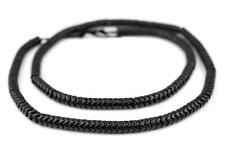 Black Resin Snake Beads 7mm Unusual 26 Inch Strand