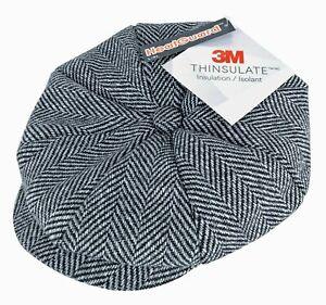 Mens Tweed Herringbone Thinsulate Lined 8 Panel Wool Baker Boy Newsboy Hat Cap