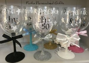 PERSONALISED A WINE GLASS*ANY OCCASION**21/30/40/50TH*ANY CELEBRATION*GIFT BOX*