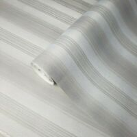 Modern white gray silver metallic textured striped wallpaper stria lines stripes