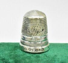 Antique 1899 Sterling silver Thimble Size 9 Art Deco Diamond Cut rare #W6
