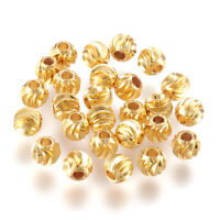 100pcs Brass Twisted Corrugated Metal Beads Round 18K Gold Plated Spacers 3~6mm