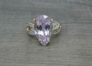 Stunning 9ct Gold Huge 11.25ct Pink Kunzite & Diamond Statement Ring, N 1/2