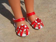 Chaussures sandales fleur rouge pour poupée les chéries corolle camille clara