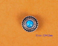 10X 12MM TURQUOISE RETRO SLIVER FLORAL LEATHER CRAFT SADDLES CONCHOS SCREW BACK